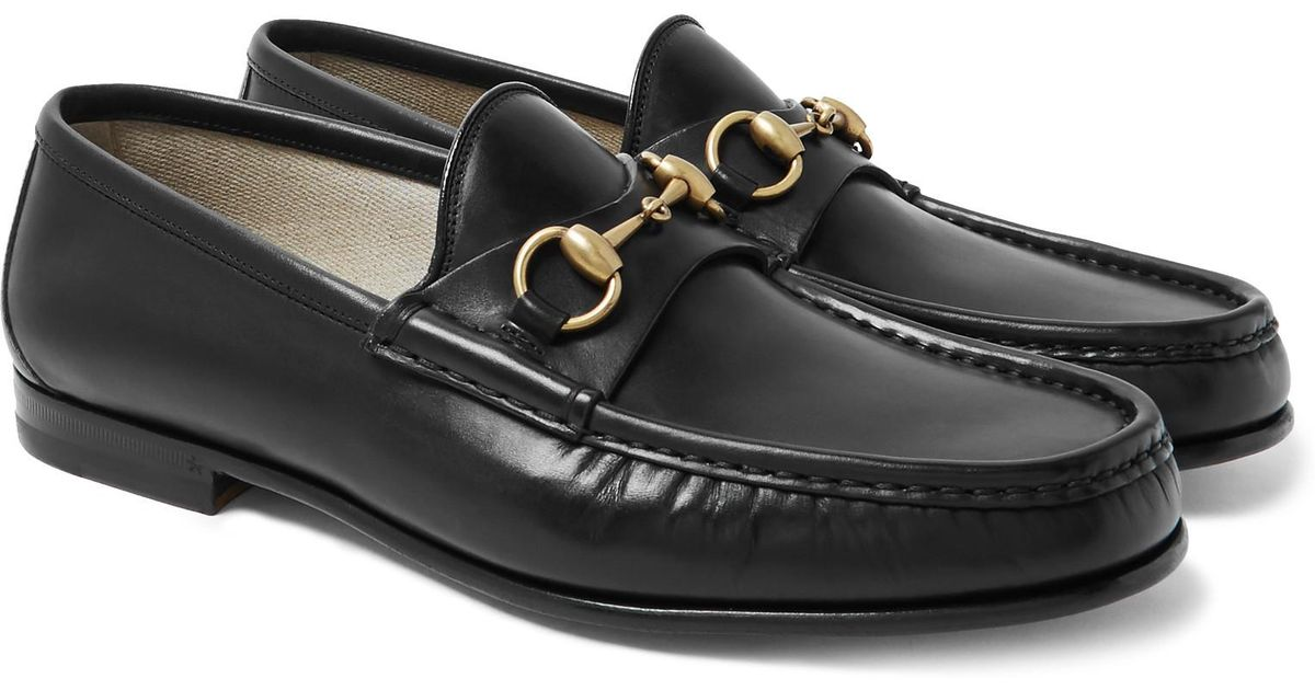 f15e6cab29b Lyst - Gucci Roos Horsebit Leather Loafers in Black for Men