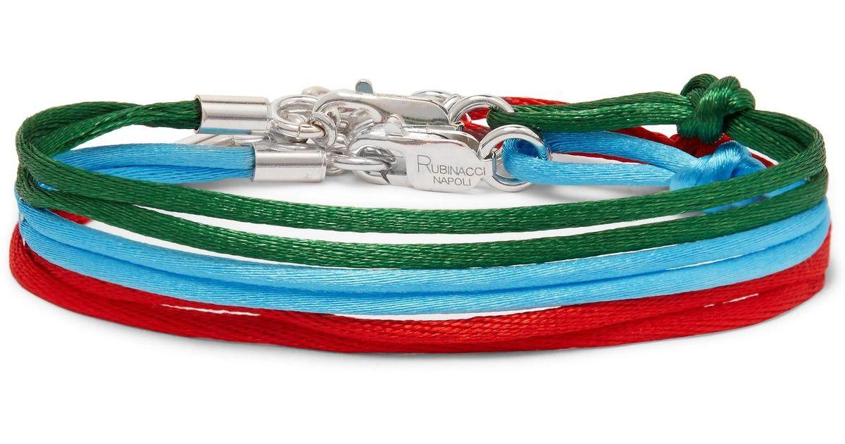 Rubinacci Set Of Three Silk Ribbon Bracelets - Green xzL44h