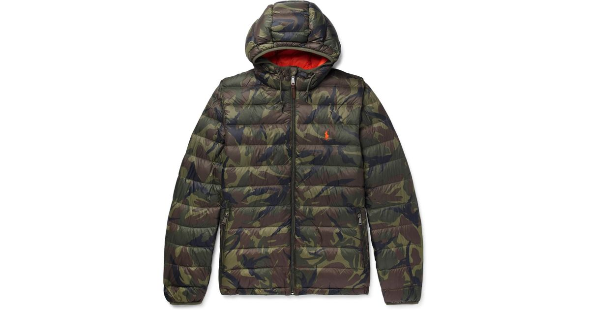 Down Green Polo Jacket Print Lauren For Camouflage Men Hooded Ralph Shell NO8wvmn0