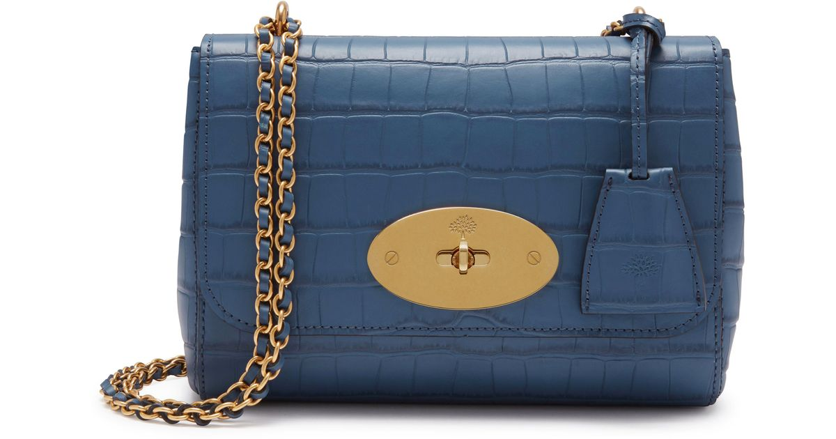 Mulberry Leather Lily In Pale Navy Matte Croc in Blue - Lyst