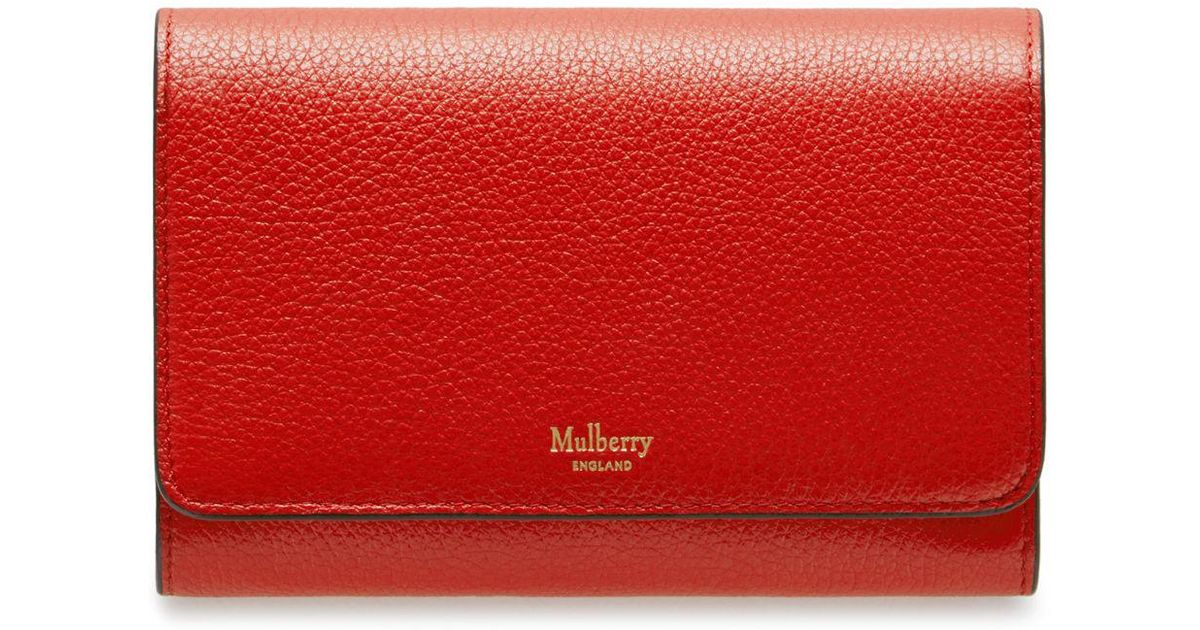 enjoy lowest price browse latest collections reliable quality Mulberry Medium Continental French Purse In Hibiscus Red Small Classic Grain