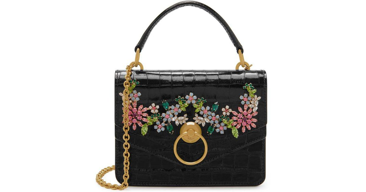 d8a8e87832d5 Lyst - Mulberry Small Harlow Satchel In Black Shiny Croc With Flower  Crystals in Black