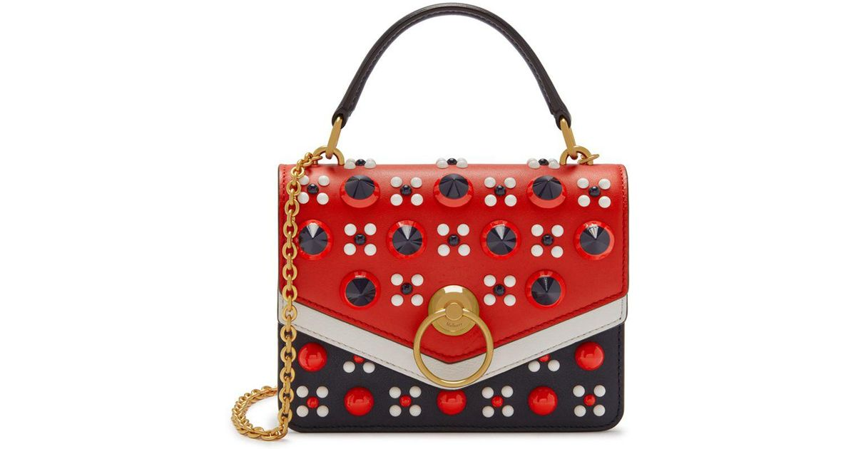 882e4ae846eb Mulberry Small Harlow Satchel In Midnight And Hibiscus Red Silky Calf Geo  Floral Reverse With Conic Studs in Red - Lyst