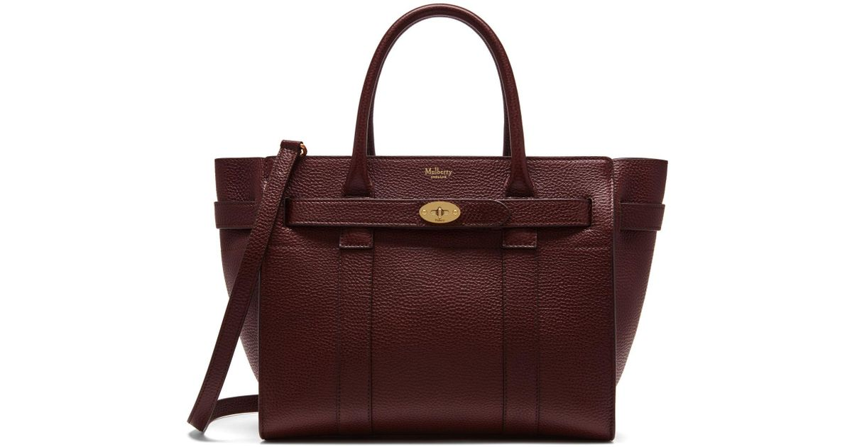 314053f1c007 Mulberry Mini Zipped Bayswater In Oxblood Natural Grain Leather - Save 25%  - Lyst