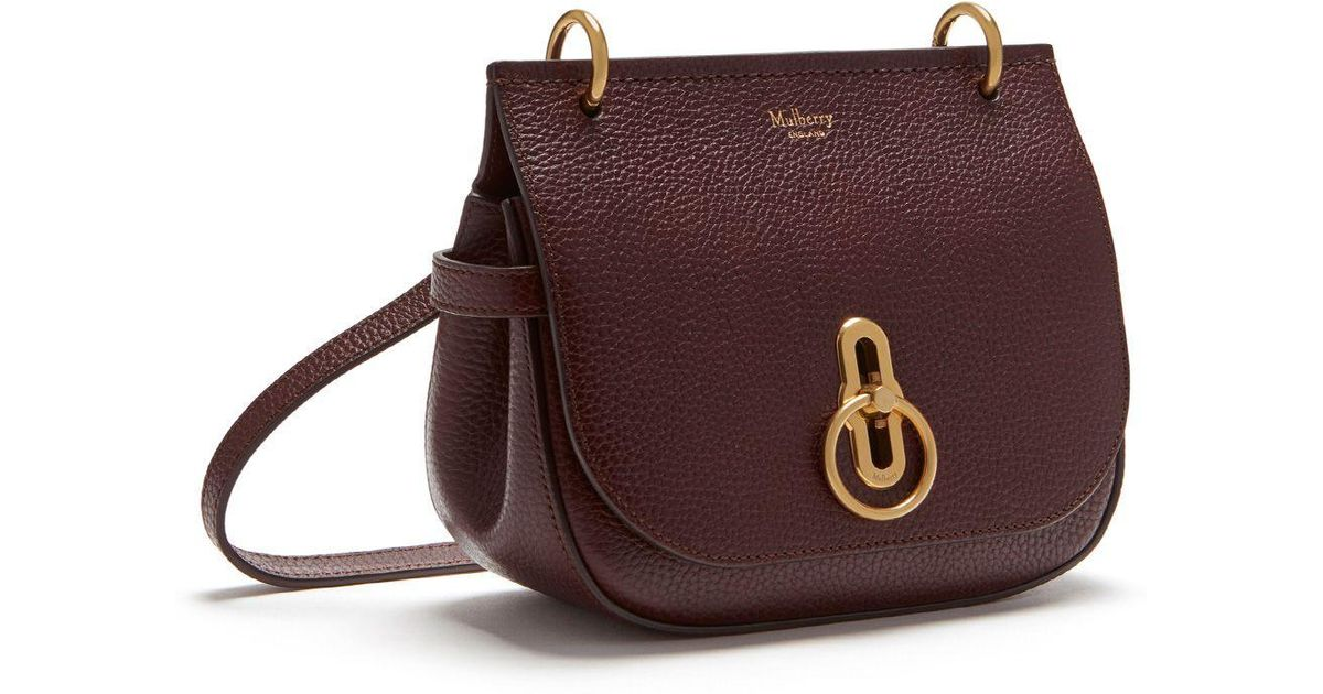 00b75f79b7 Mulberry Small Amberley Satchel In Oxblood Natural Grain Leather - Lyst