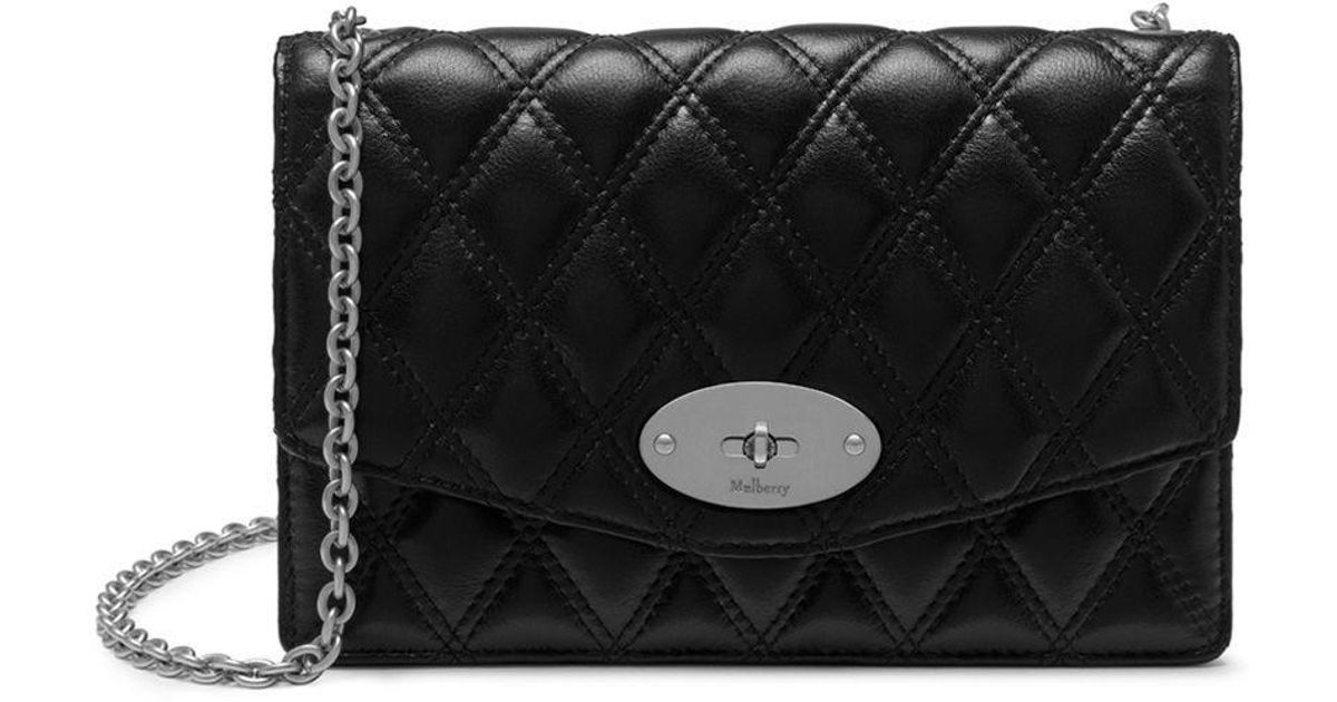 classic style great fit professional sale Mulberry Small Darley In Black - Silver Toned Quilted Smooth Calf ...