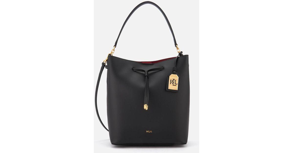 cfd916cee21c Lyst - Lauren by Ralph Lauren Dryden Debby Drawstring Bucket Bag in Black
