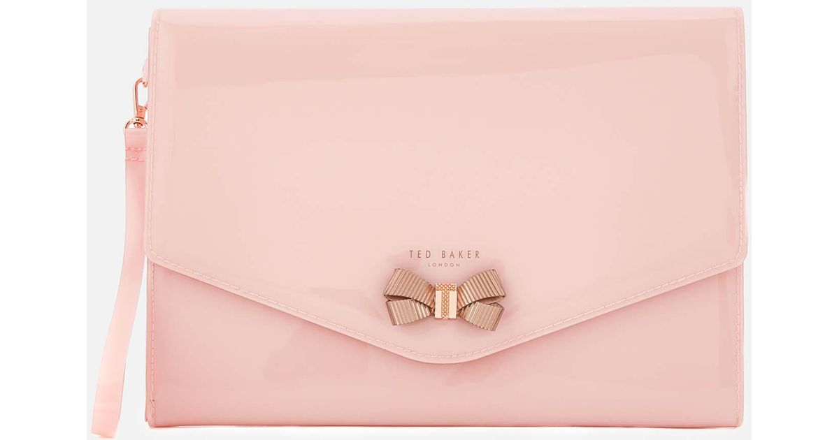 a87344b81b4 Ted Baker Luanne Bow Envelope Pouch in Pink - Lyst