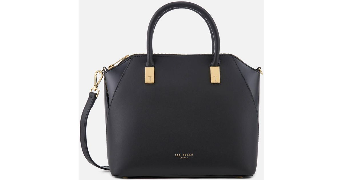 2143b844fdd37 Ted Baker Ashlee Small Leather Tote Bag in Black - Lyst