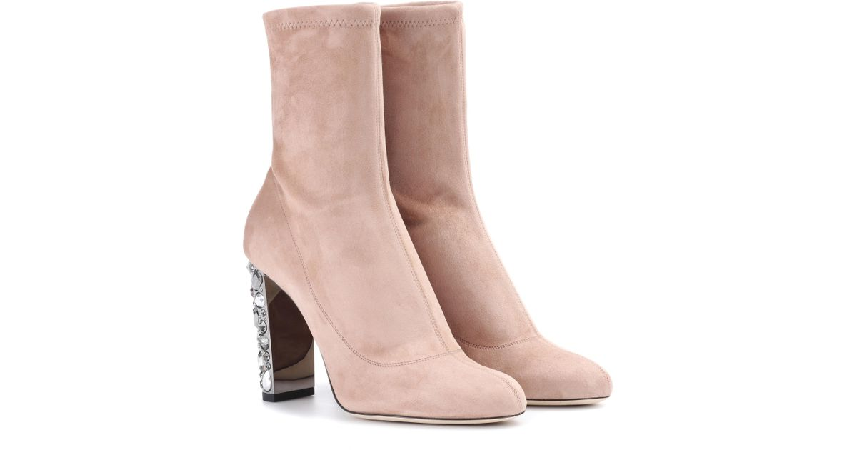 5923363f8e0 Jimmy Choo Maine 100 Ballet Pink Suede Boots in Pink - Lyst
