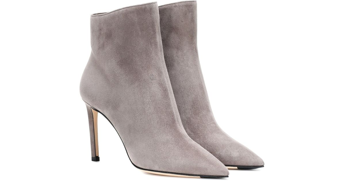 602b71da9aceb Jimmy Choo Helaine 85 Suede Ankle Boots in Gray - Lyst