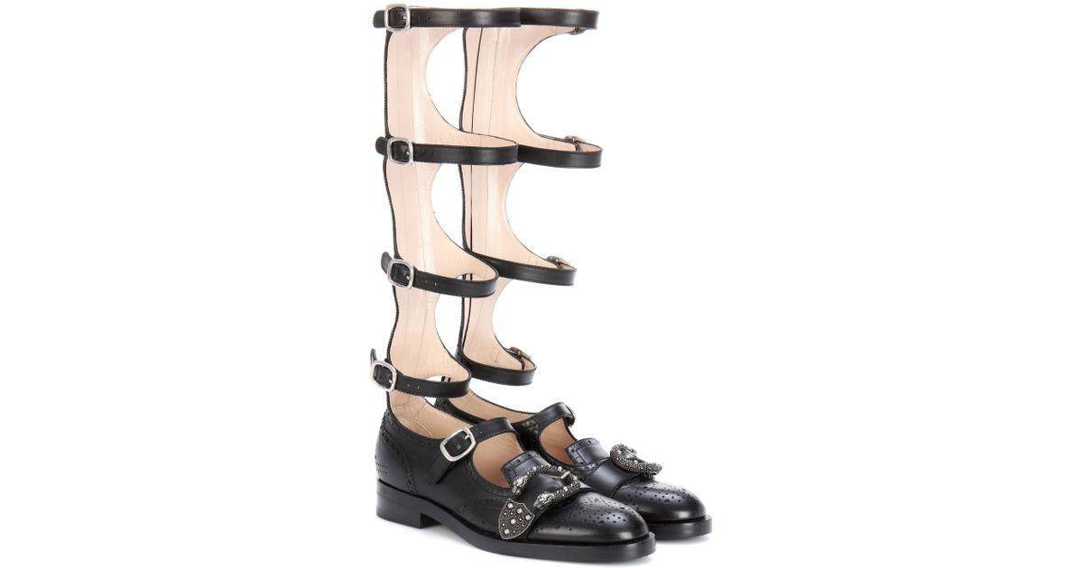 e1ea6f44061 Lyst - Gucci Queercore Brogue Knee Boots in Black