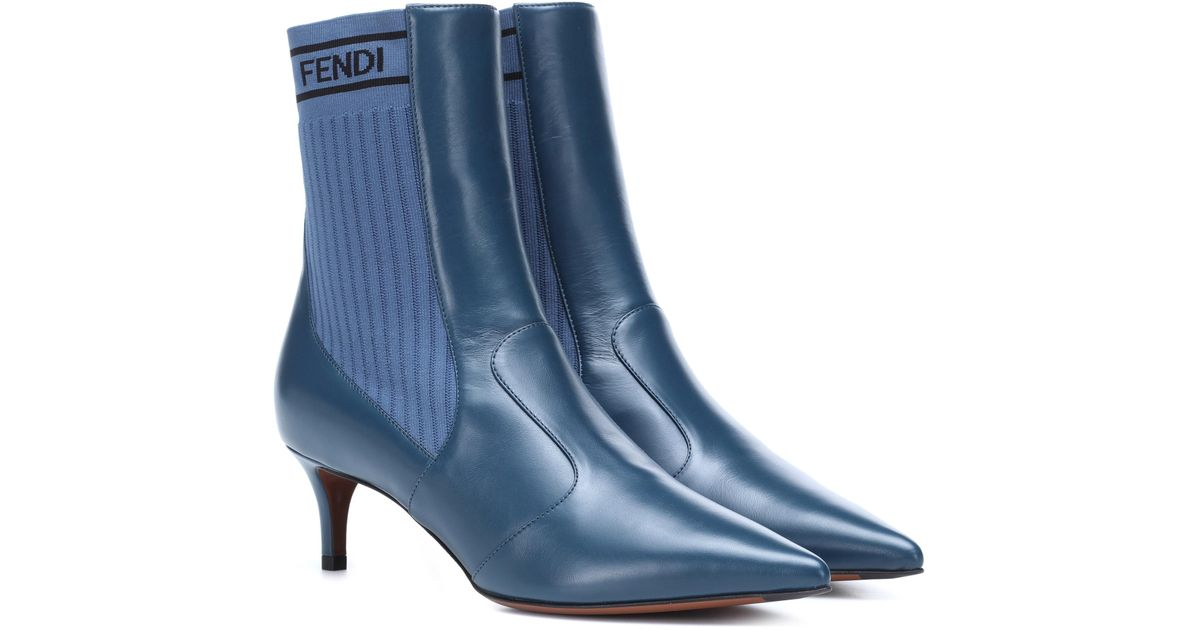 Fendi Leather Ankle Boots in Blue - Lyst