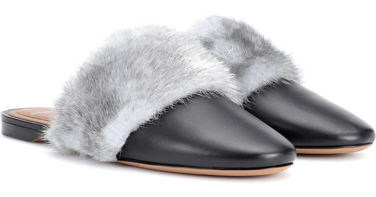 Pantoufles En Cuir Garnis De Fourrure Bedford Givenchy lkaMbzM