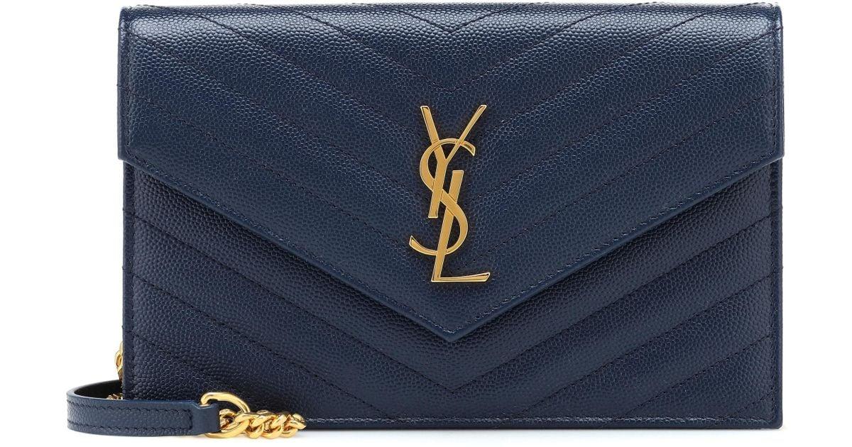 bed86487e131 Lyst - Saint Laurent Monogram Envelope Shoulder Bag in Blue