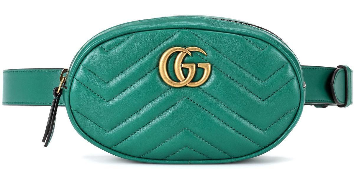 0d54f9112866 Gucci Gg Marmont Leather Belt Bag in Green - Lyst