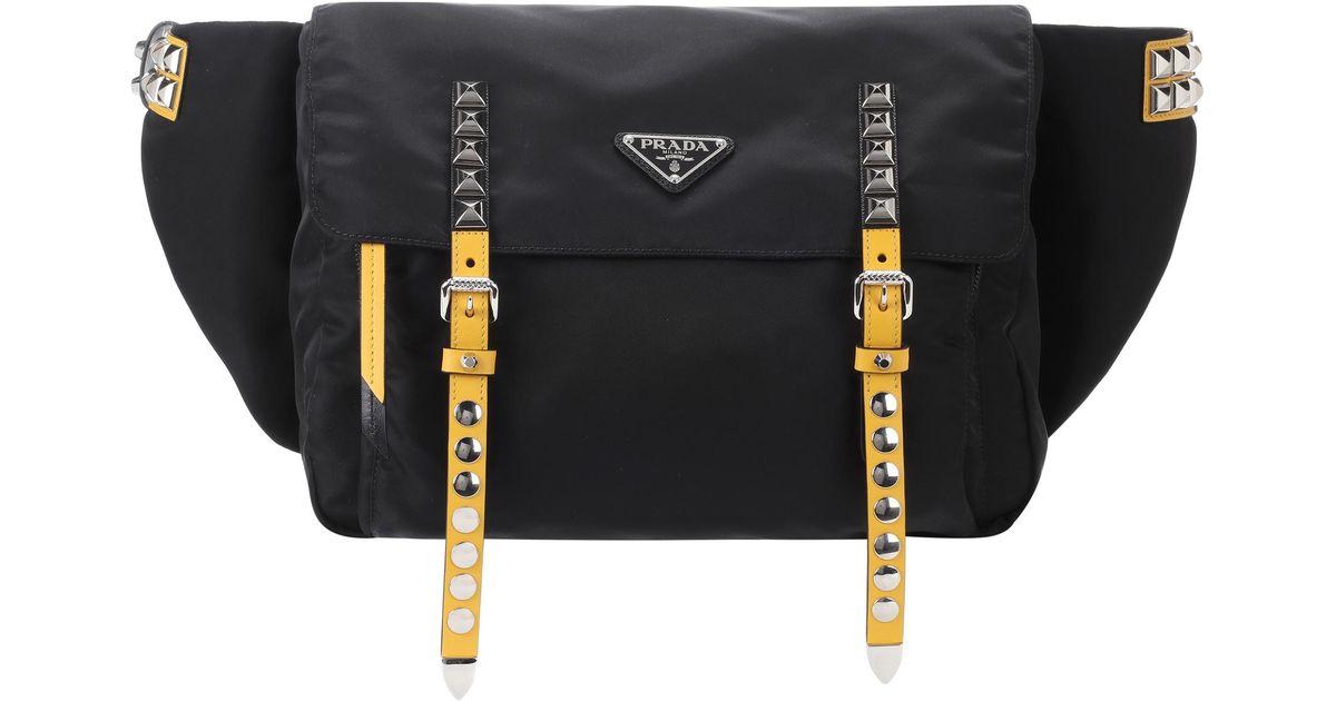 Lyst - Sac ceinture clouté Prada en coloris Noir f2812abe776