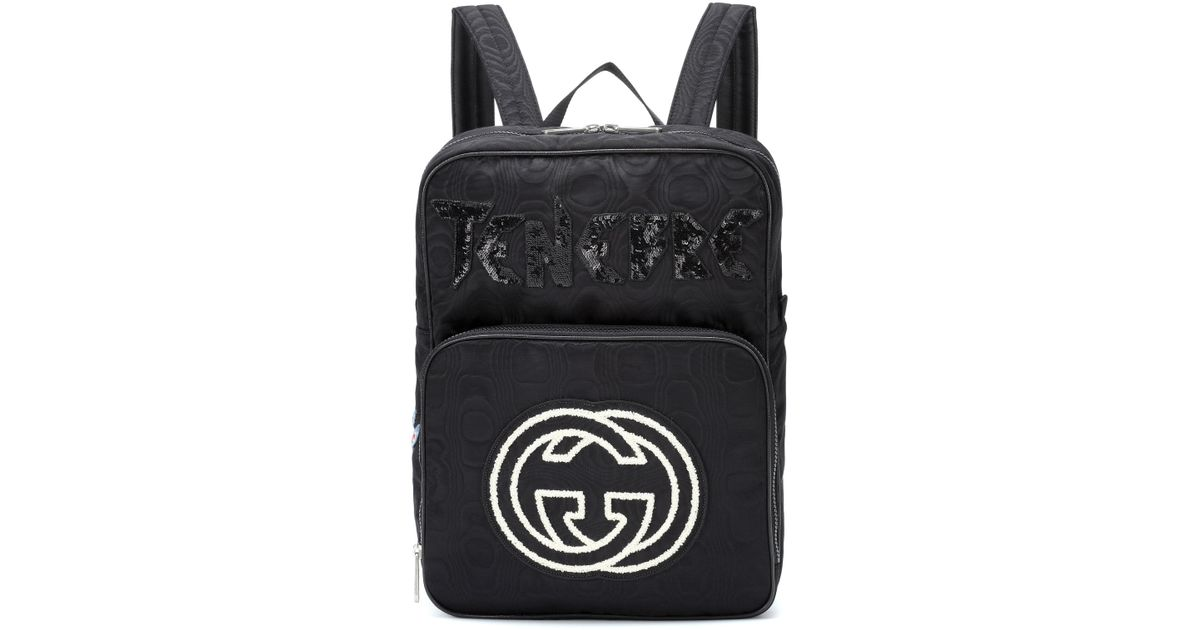 aa6ae0c34c6c Lyst - Gucci Embroidered Medium Backpack in Black