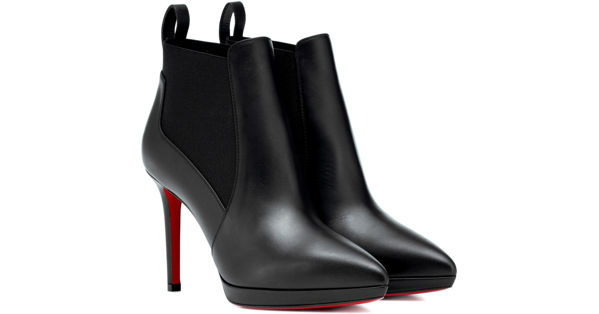 a46e34c2fe83 Lyst - Christian Louboutin Crochinetta 100 Leather Ankle Boots in Black