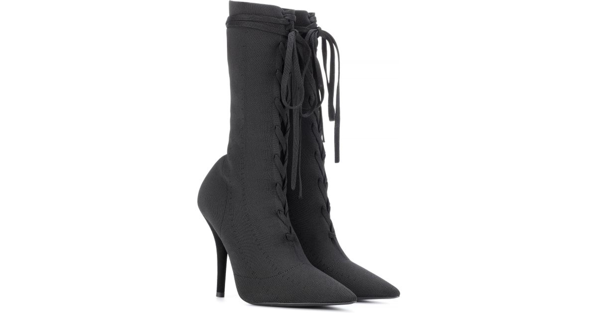 fc094ded449 Lyst - Yeezy Lace-up Knit Ankle Boots (season 5) in Black