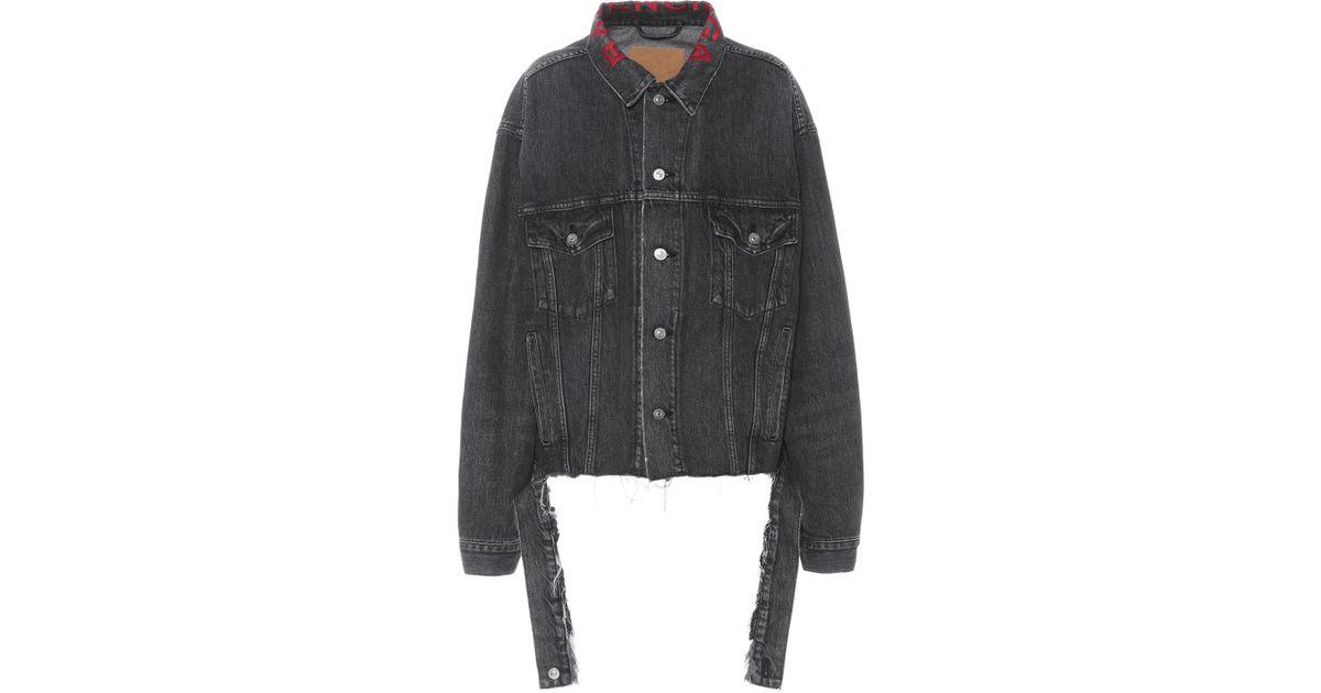f70675df2d15c7 Balenciaga Embroidered Denim Jacket in Black - Lyst