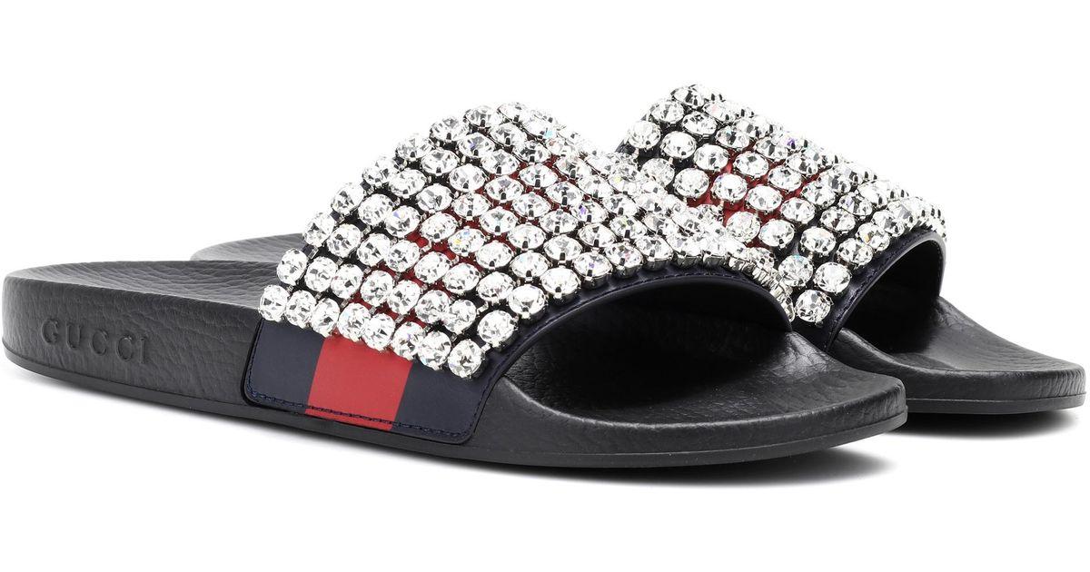 246cdf907983 Lyst - Gucci Crystal-embellished Slides in Black