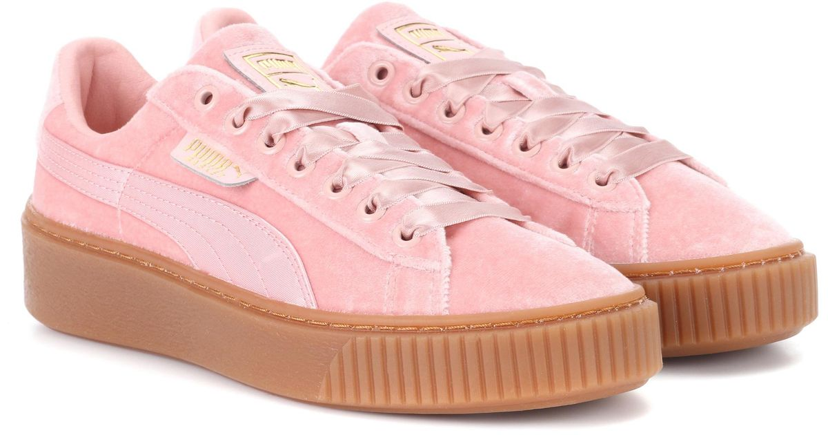 shoes for cheap finest selection best selection of PUMA Pink Basket Platform Velvet Sneakers
