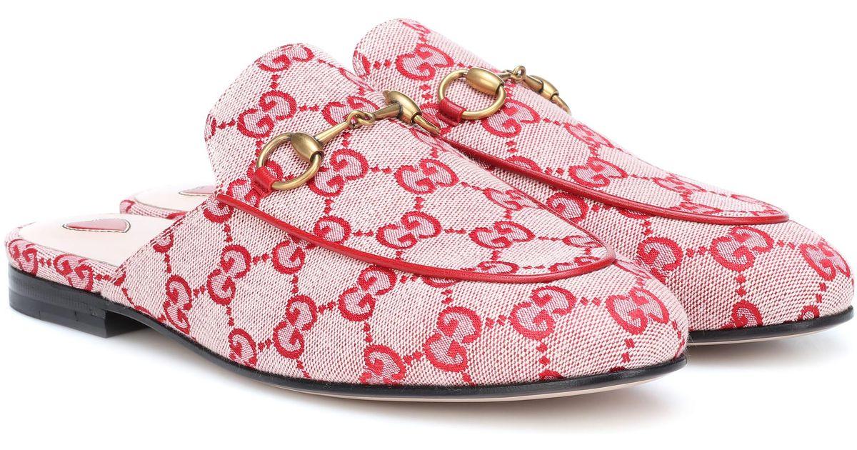 d4b725e280 Gucci Multicolor Princetown GG Canvas Slippers