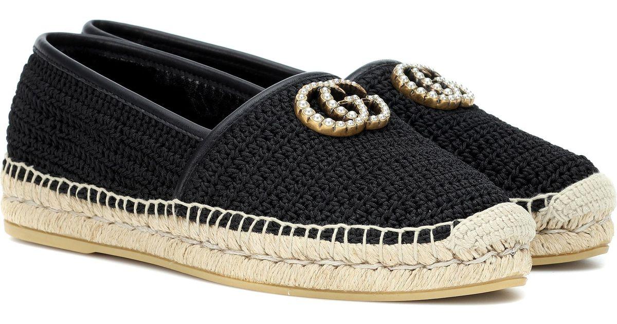 f94a904aa79 Lyst - Gucci GG Crochet Espadrilles in Black
