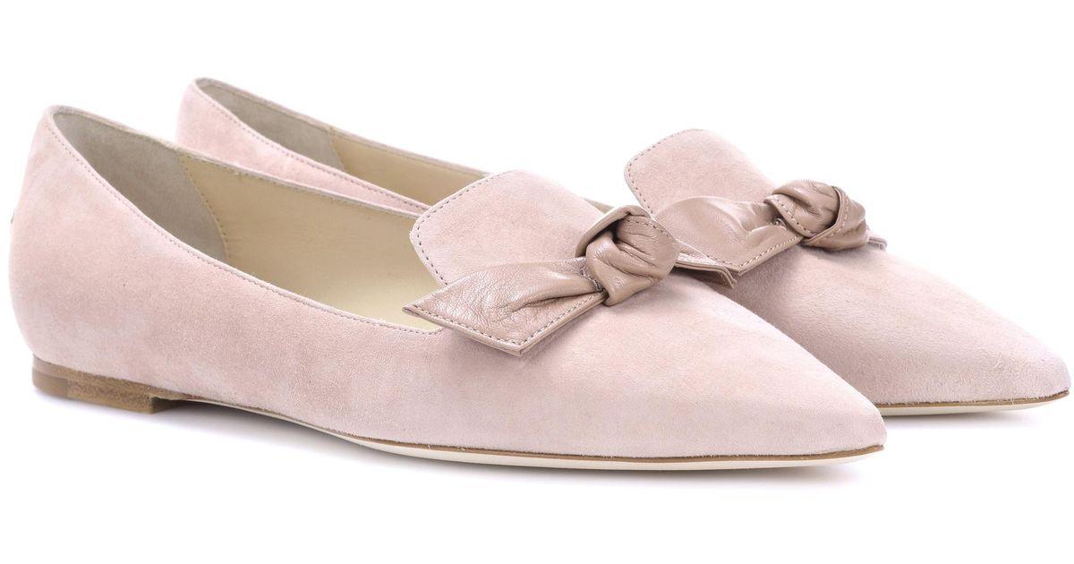 5b2f5425ed8 Lyst - Jimmy Choo Gabie Suede Ballerinas in Pink