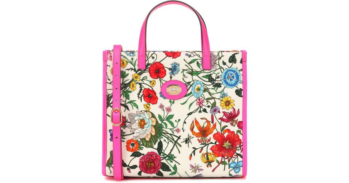 34f9cf651d1 Gucci Flora Medium Canvas Tote - Lyst