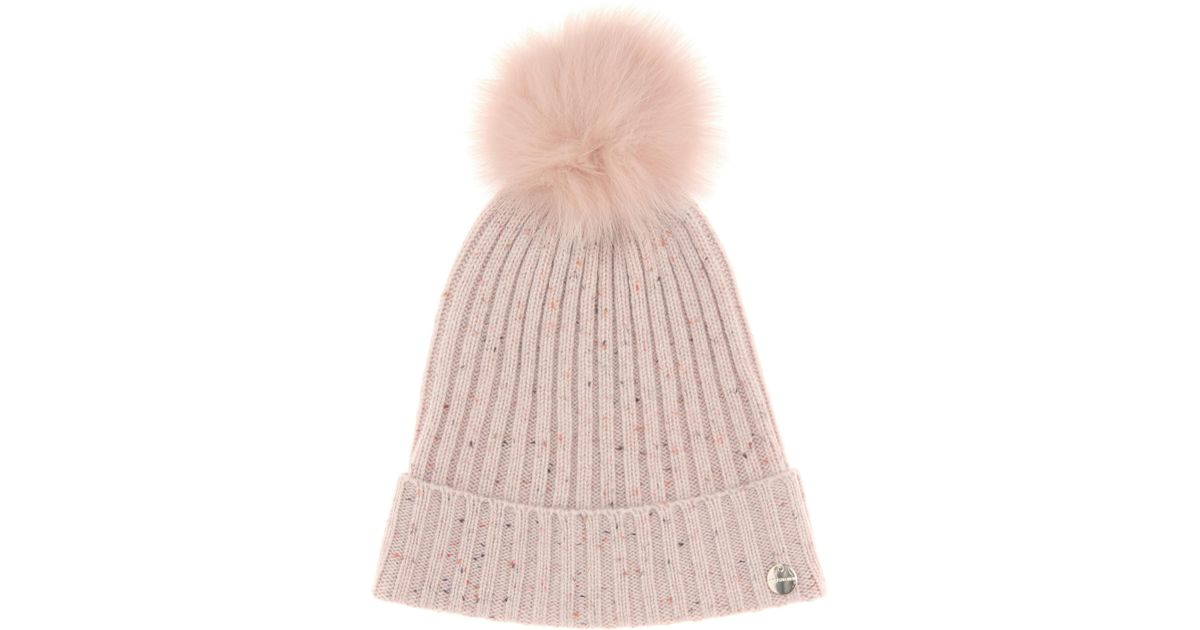 c0f9ff06 Lyst - Meteo By Yves Salomon Fur-trimmed Wool And Cashmere Hat in Pink