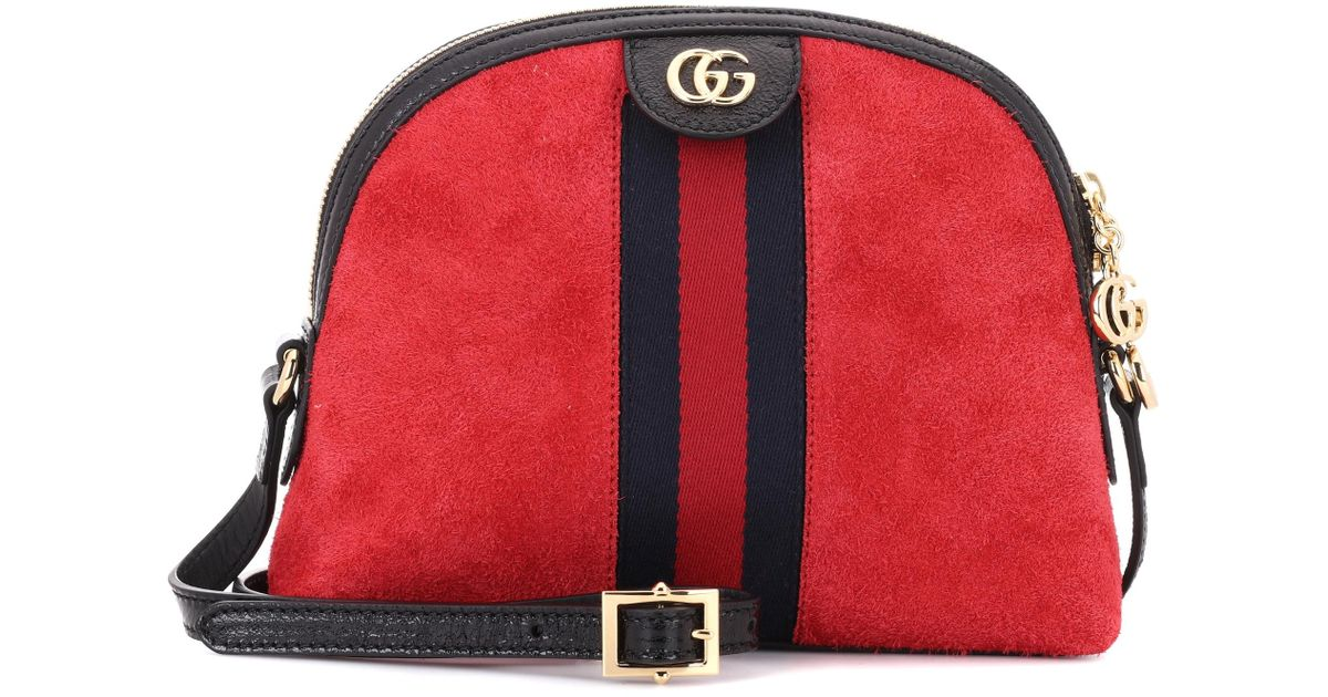 5879d07eff6 Gucci Ophidia Suede Crossbody Bag in Red - Lyst