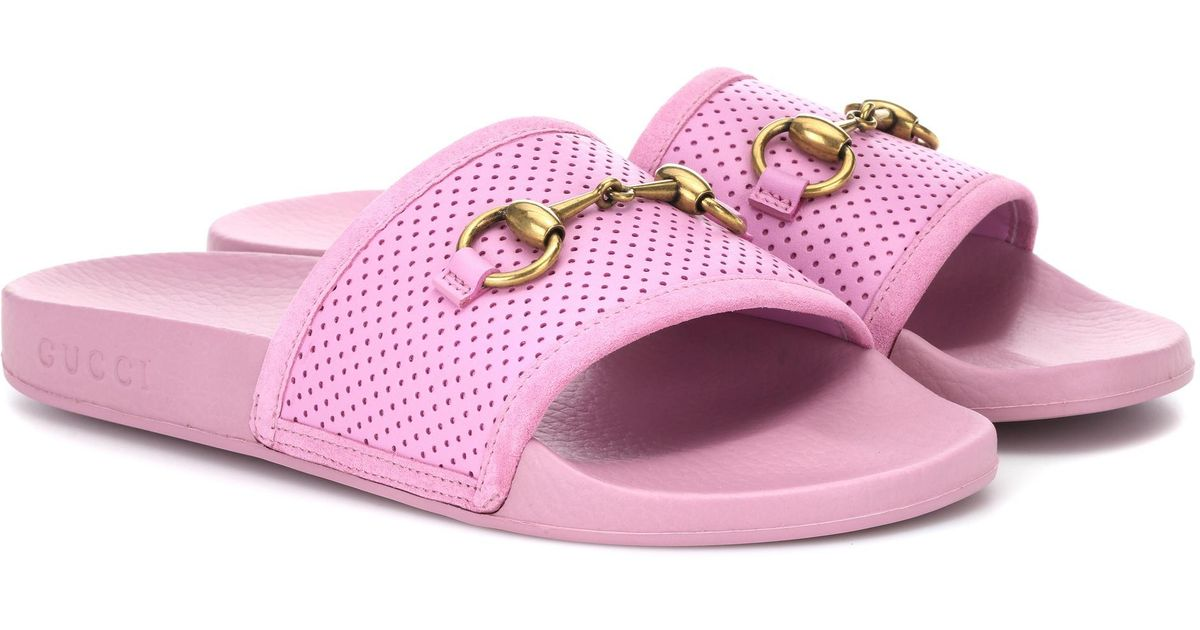 1c746700a977 Gucci Horsebit Leather Slides in Pink - Lyst
