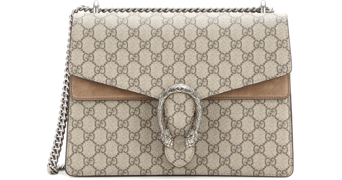 0415891180be6d Gucci Dionysus Gg Supreme Medium Coated Canvas And Suede Shoulder Bag in  Natural - Lyst