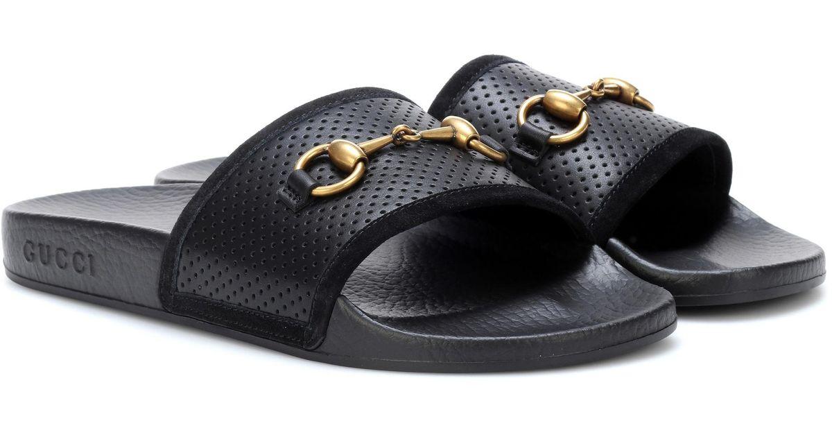 Gucci Horsebit Leather Slides in Black