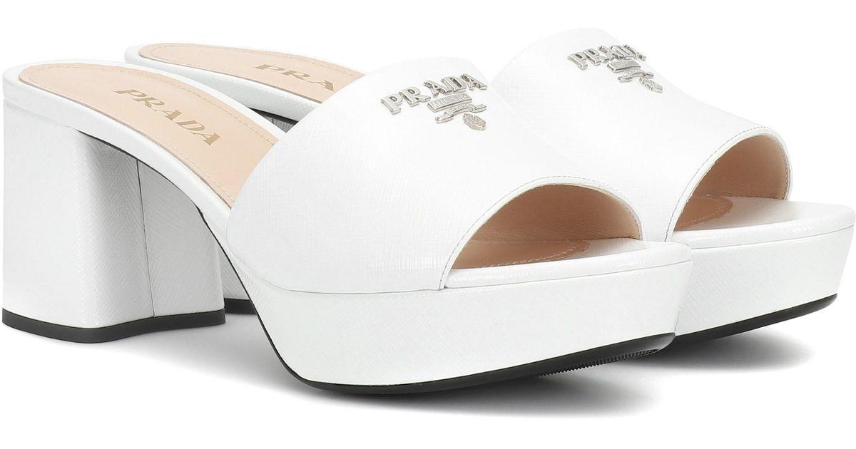 Leather Prada Sandals Sandals Leather White Prada Plateau White Plateau 4cq5ARjL3