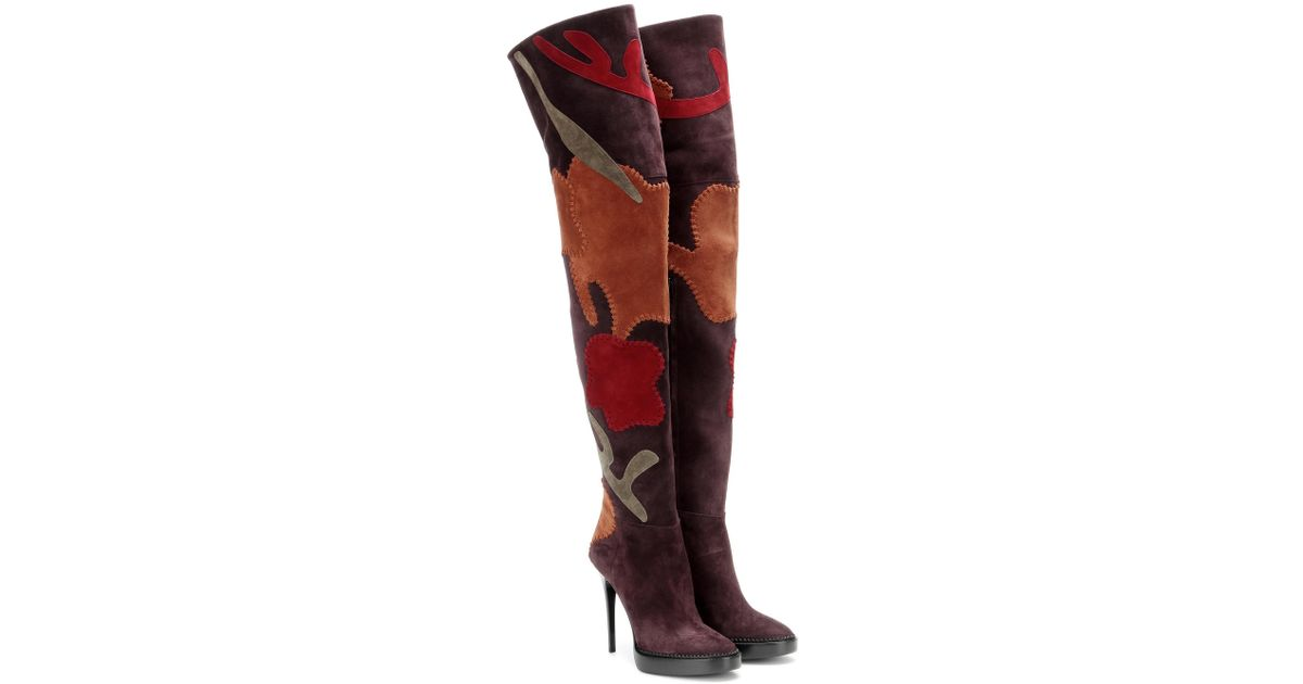 775b198e057 Lyst - Burberry Appliquéd Suede Over-the-knee Boots in Blue
