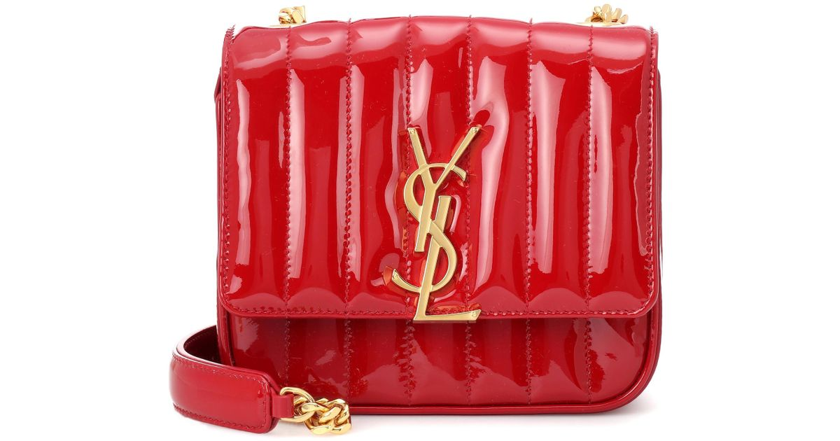 8f85da1aa90 Saint Laurent Small Vicky Leather Crossbody Bag in Red - Lyst