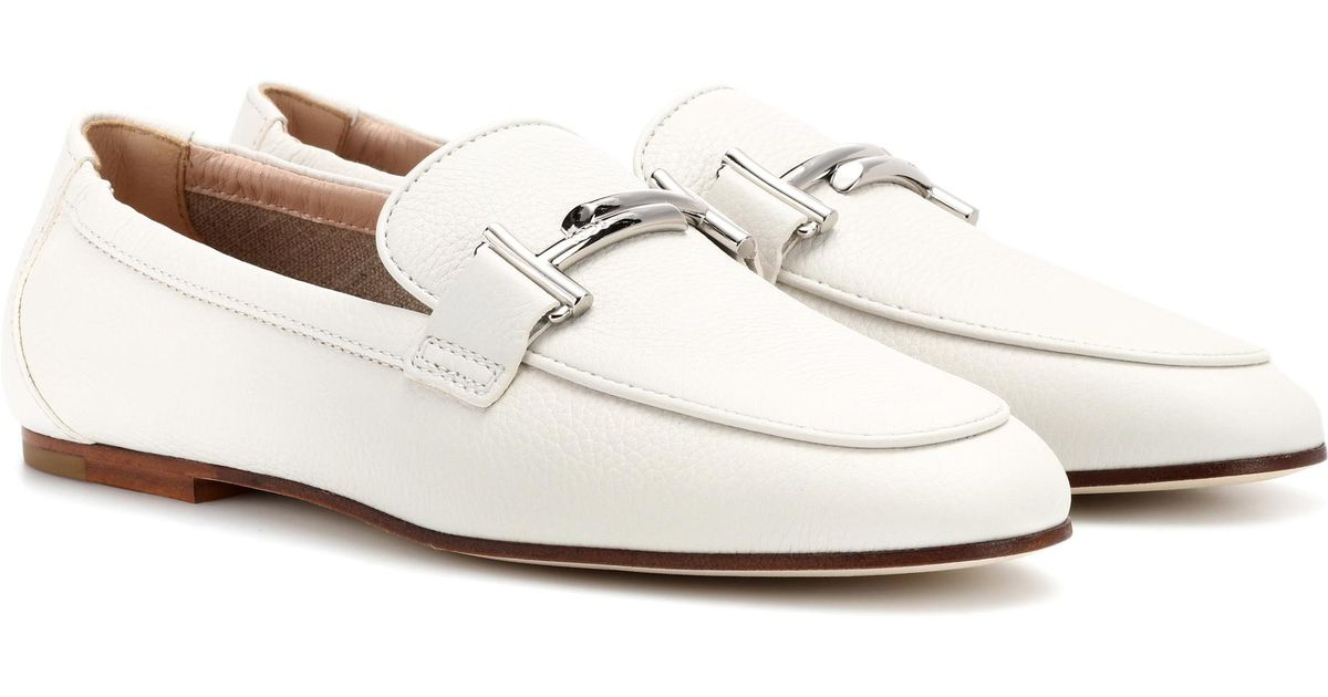 59708ef764e Tod s Double T Leather Loafers in White - Lyst