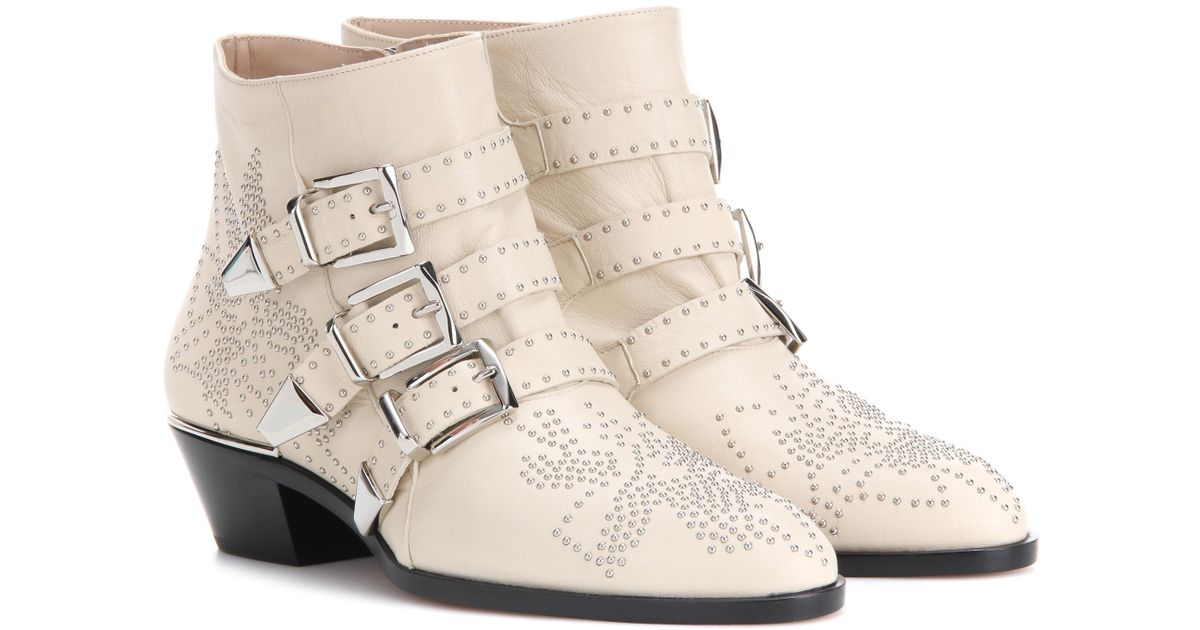 Susanna Leather Ankle Boots in White