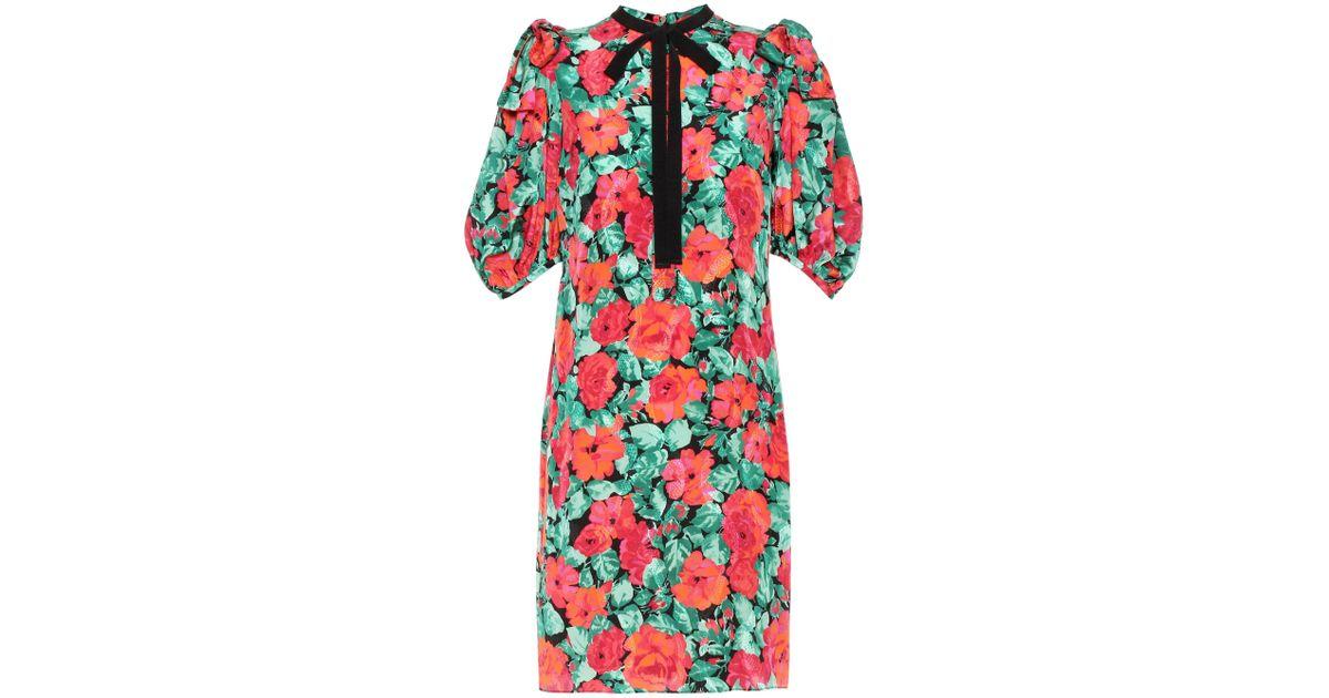 204756016ed Lyst - Robe en jacquard de soie imprimé Gucci