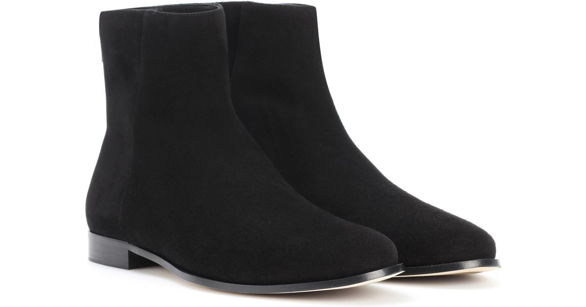 e350324f0d4 Lyst - Jimmy Choo Duke Flat Suede Ankle Boots in Black