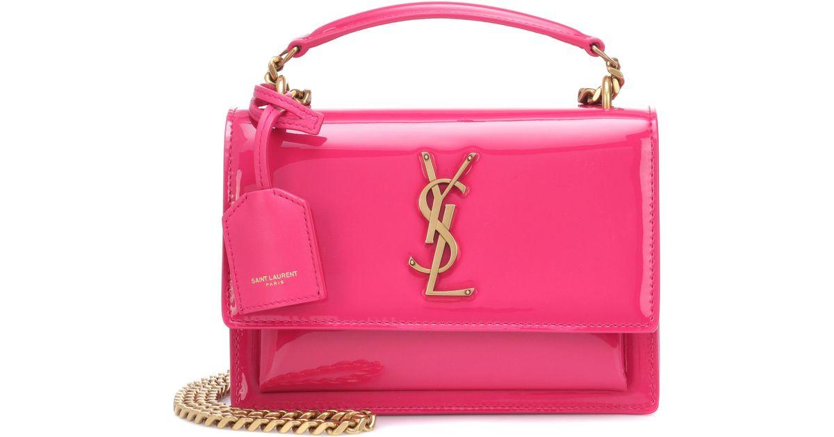 495fd18e9ddbd Lyst - Saint Laurent Small Sunset Monogram Shoulder Bag in Pink