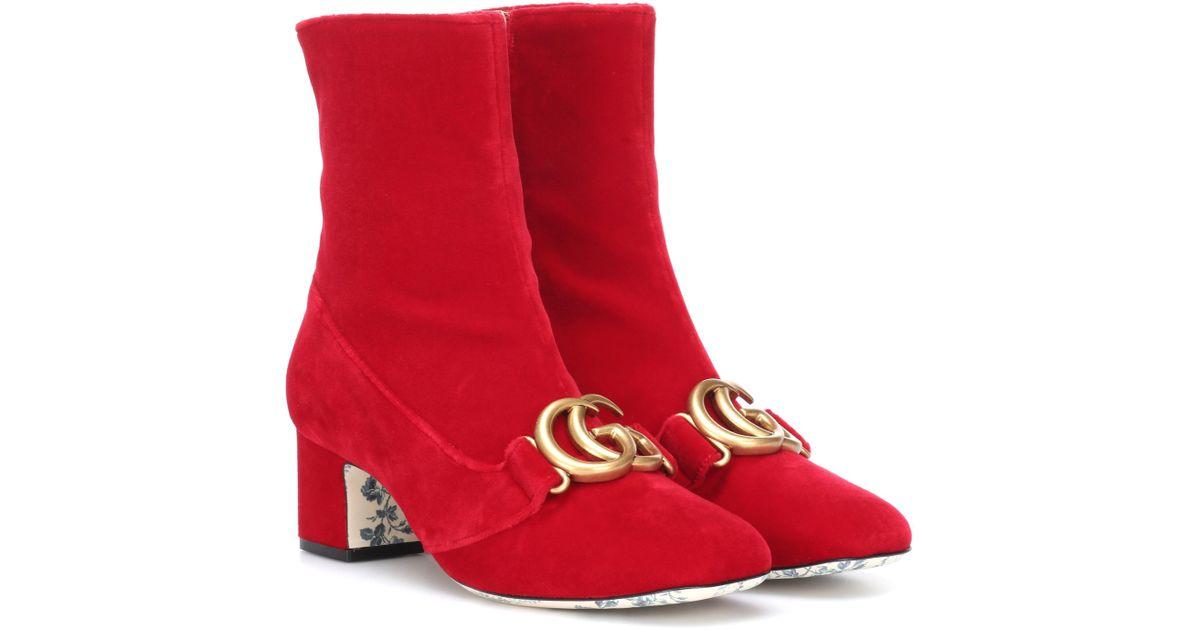 Gucci Embellished Velvet Ankle Boots in