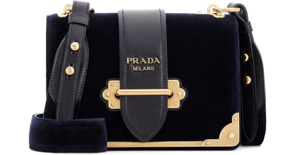 31f644b2737e Lyst - Prada Cahier Leather Velvet Bag in Blue