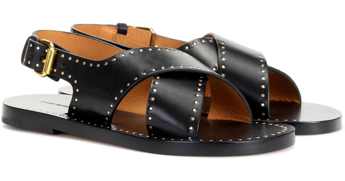 Jane Leather Isabel Studded Sandals Marant Black F13Tl5uKJc