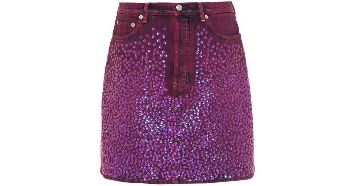 dffc00f2a0 Acne Studios Sharmayne Sequinned Denim Skirt in Purple - Lyst
