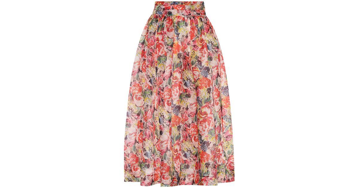 f12b0cee Ganni Seneca Floral-printed Silk Skirt - Lyst