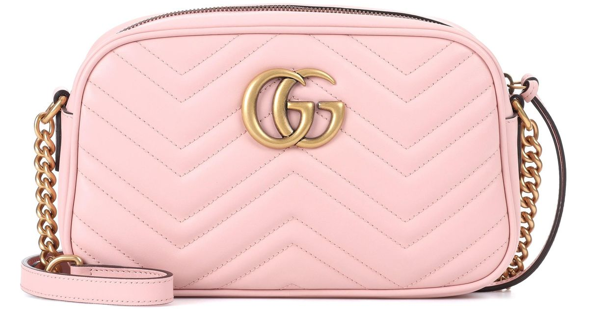 7ee7cee0e9 Gucci Pink GG Marmont Leather Crossbody Bag